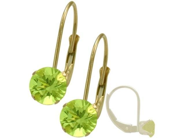 August 10K Yellow Gold 1.00tcw. 5mm Peridot Leverback Gem Earrings