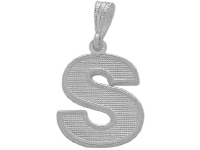 10 Karat White Gold Block Initial S Pendant with Chain