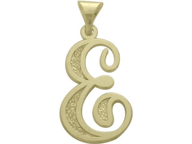 10 Karat Yellow Gold Fancy Initial E Pendant with Chain