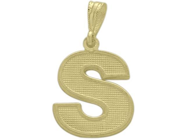 10 Karat Yellow Gold Block Initial S Pendant with Chain