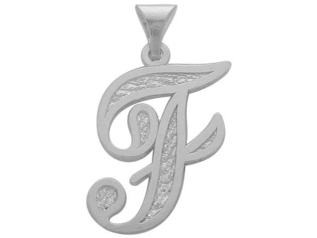 10 Karat White Gold Fancy Initial F Pendant with Chain