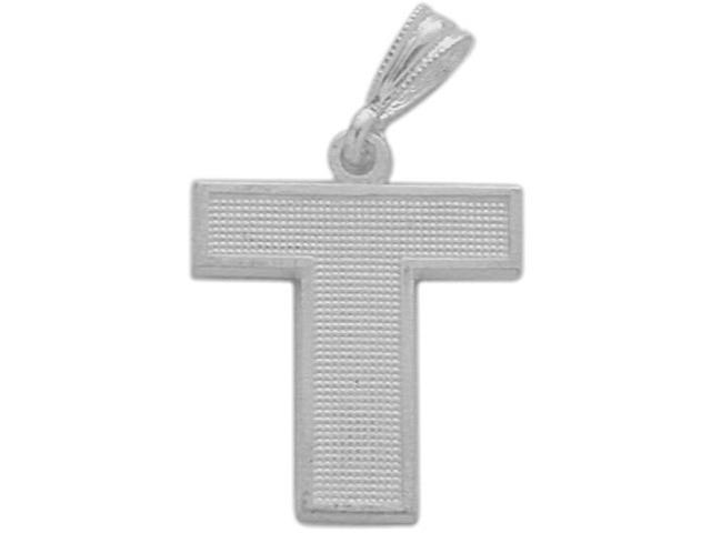 10 Karat White Gold Block Initial T Pendant with Chain
