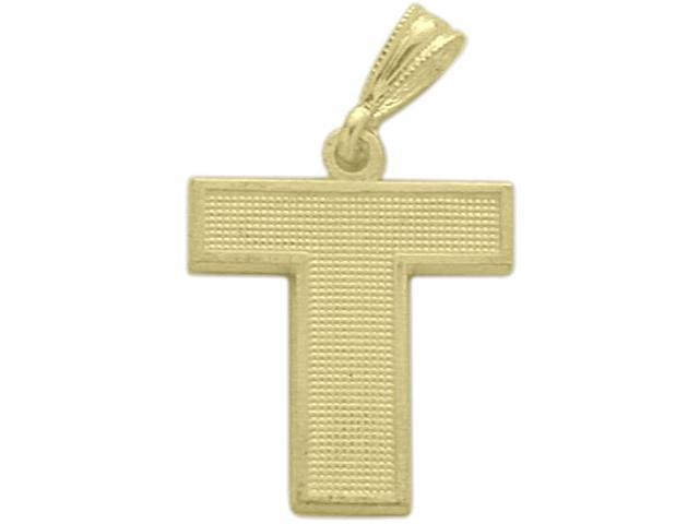 10 Karat Yellow Gold Block Initial T Pendant with Chain