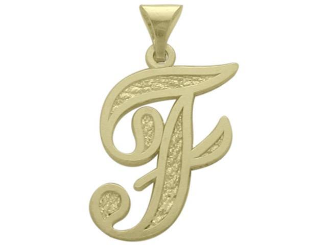 10 Karat Yellow Gold Fancy Initial F Pendant with Chain