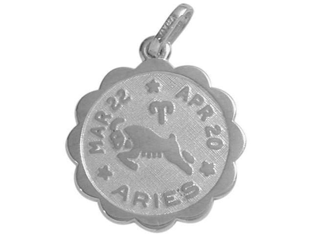Round Sterling Silver Aries Zodiac Pendant with Chain