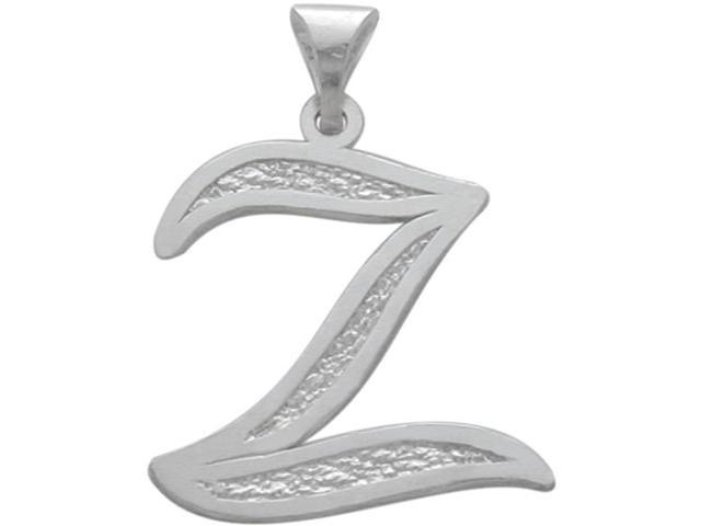 Sterling Silver Fancy Initial Z Pendant with Chain