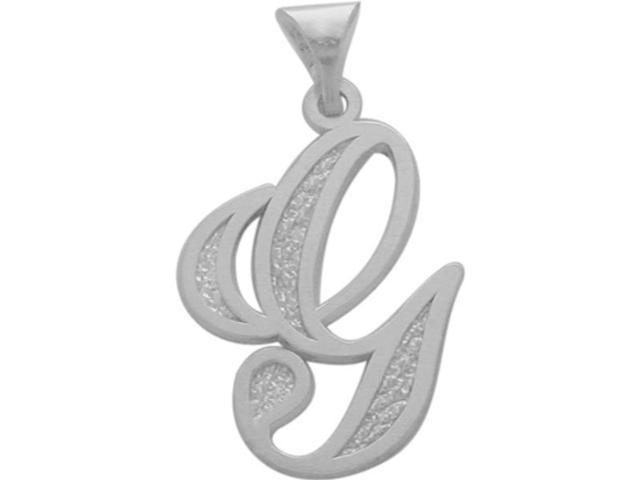 10 Karat White Gold Fancy Initial G Pendant with Chain