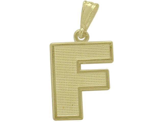 10 Karat Yellow Gold Block Initial F Pendant with Chain