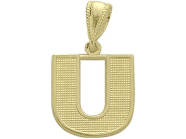 10 Karat Yellow Gold Block Initial U Pendant with Chain