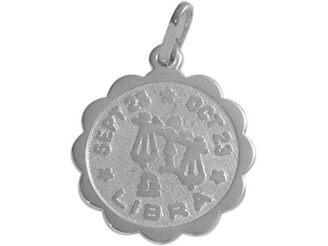Round Sterling Silver Libra Zodiac Pendant with Chain