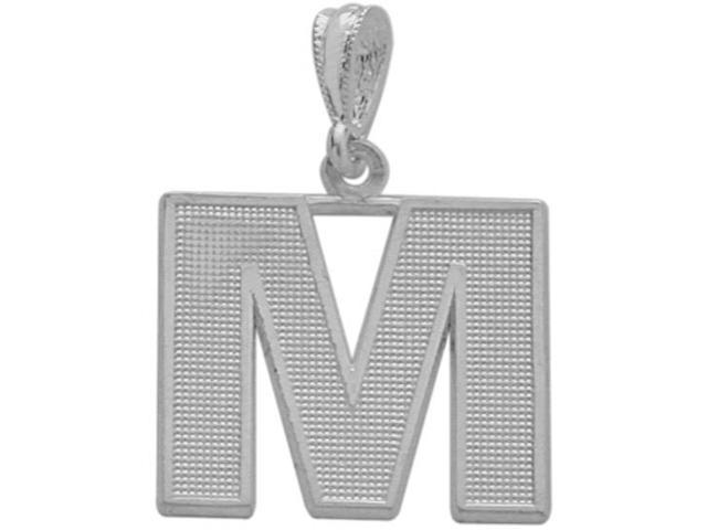 10 Karat White Gold Block Initial M Pendant with Chain