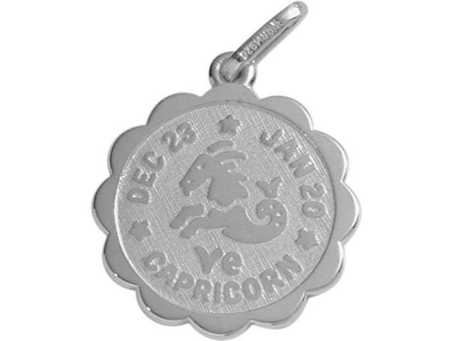 Round Sterling Silver Capricorn Zodiac Pendant with Chain