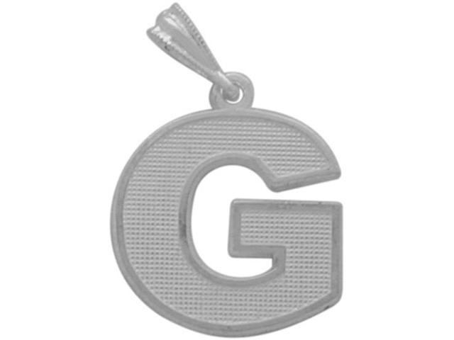 10 Karat White Gold Block Initial G Pendant with Chain