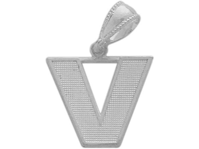 10 Karat White Gold Block Initial V Pendant with Chain