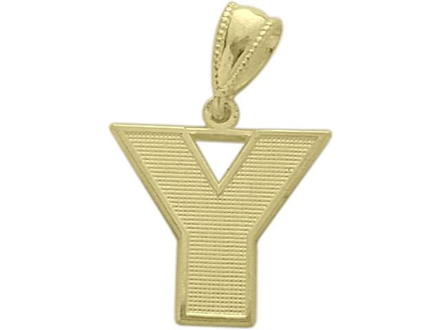 10 Karat Yellow Gold Block Initial Y Pendant