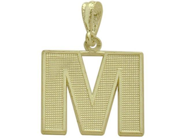 10 Karat Yellow Gold Block Initial M Pendant with Chain