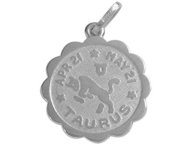 Round Sterling Silver Taurus Zodiac Pendant with Chain