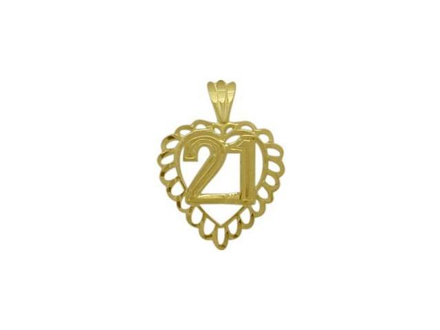 10K Yellow Gold Fancy #21 Heart Age Pendant with Chain