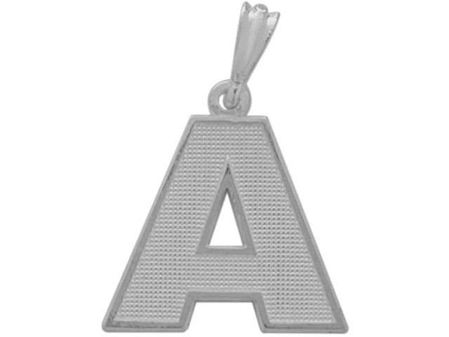 10 Karat White Gold Block Initial A Pendant with Chain
