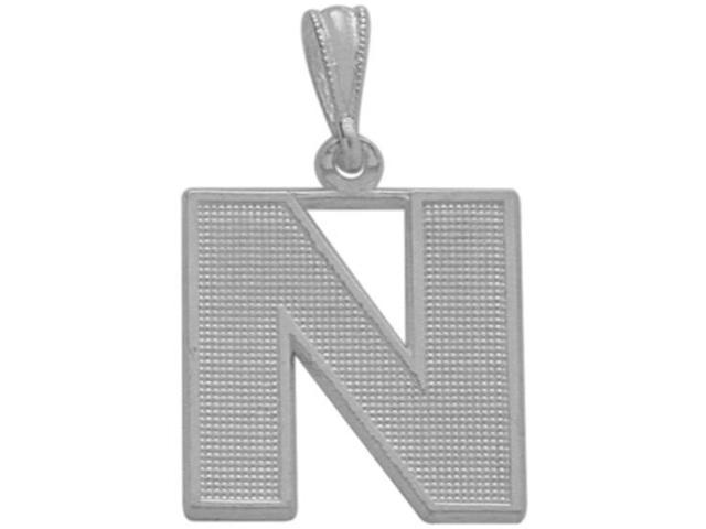 10 Karat White Gold Block Initial N Pendant with Chain