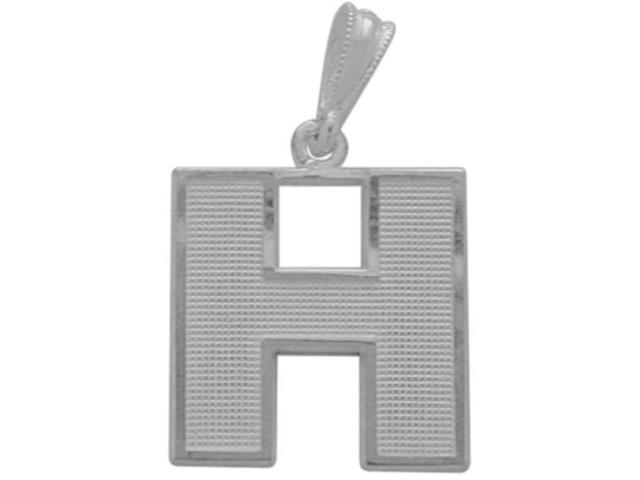 10 Karat White Gold Block Initial H Pendant with Chain