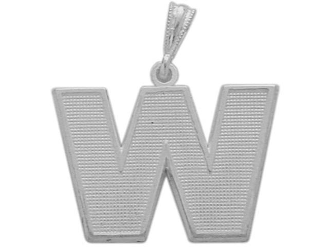 10 Karat White Gold Block Initial W Pendant with Chain