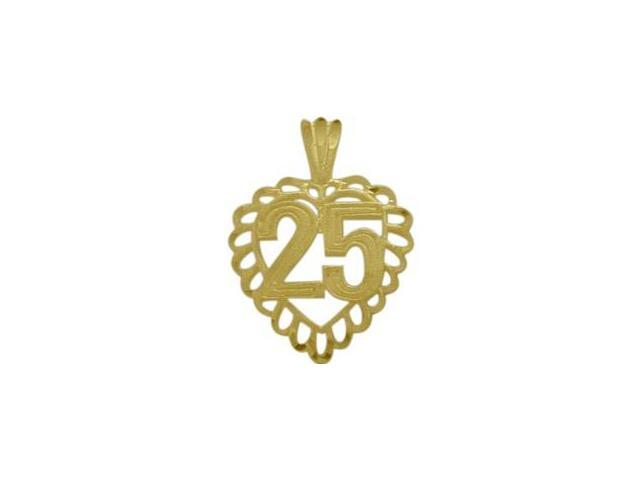 10K Yellow Gold Fancy #25 Heart Age Pendant with Chain
