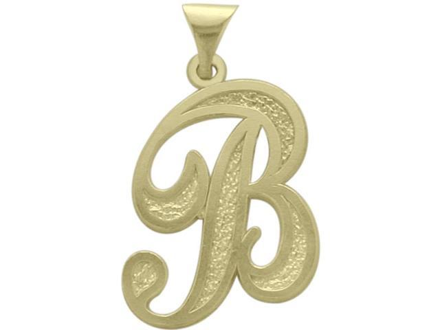10 Karat Yellow Gold Fancy Initial B Pendant with Chain