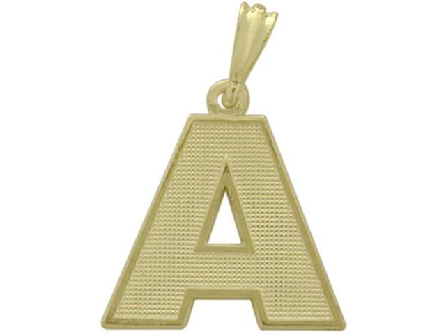 10 Karat Yellow Gold Block Initial A Pendant with Chain