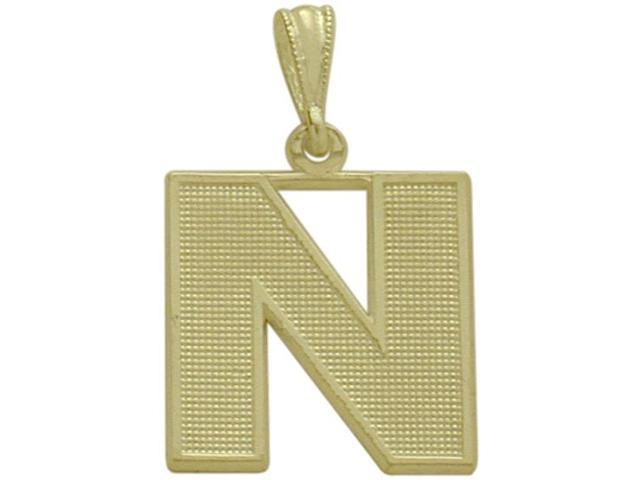 10 Karat Yellow Gold Block Initial N Pendant with Chain