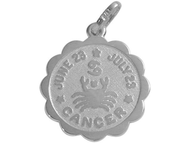 Round Sterling Silver Cancer Zodiac Pendant with Chain