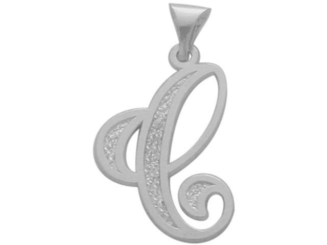 10 Karat White Gold Fancy Initial C Pendant with Chain
