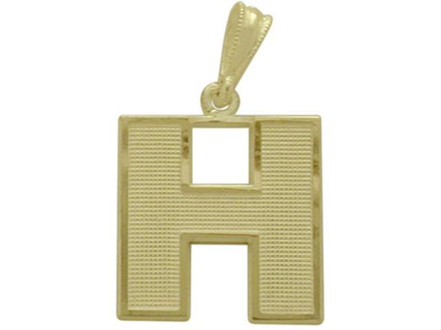 10 Karat Yellow Gold Block Initial H Pendant with Chain