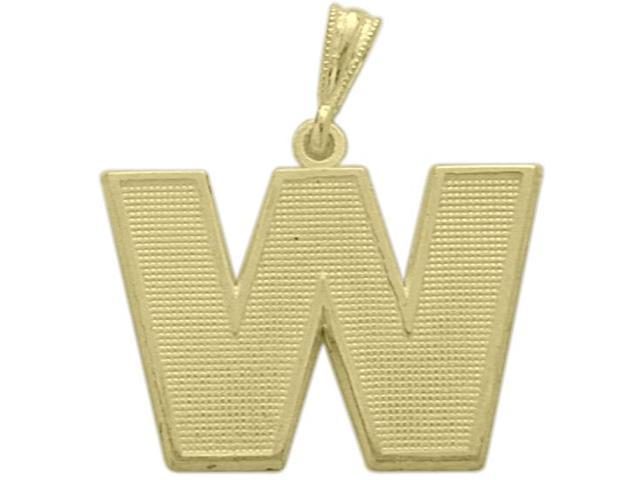10 Karat Yellow Gold Block Initial W Pendant with Chain