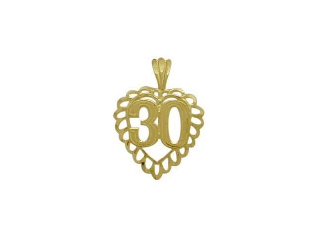 10K Yellow Gold Fancy #30 Heart Age Pendant with Chain
