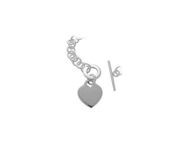 Genuine Sterling Silver Heart Tag Necklace