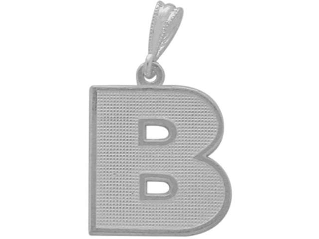 10 Karat White Gold Block Initial B Pendant with Chain