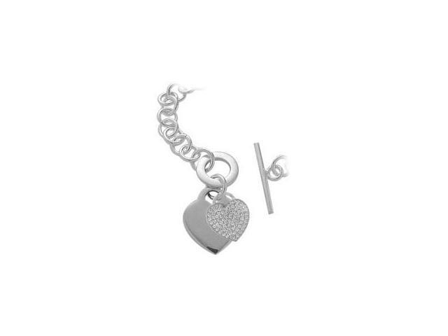 Sterling Silver 85 Stone Heart Tag Necklace