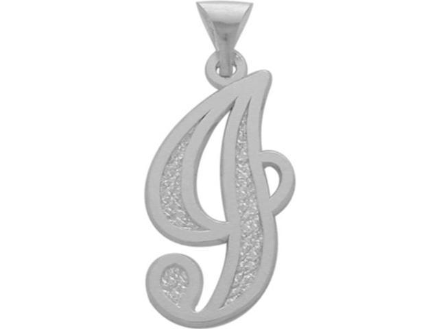 10 Karat White Gold Fancy Initial J Pendant with Chain