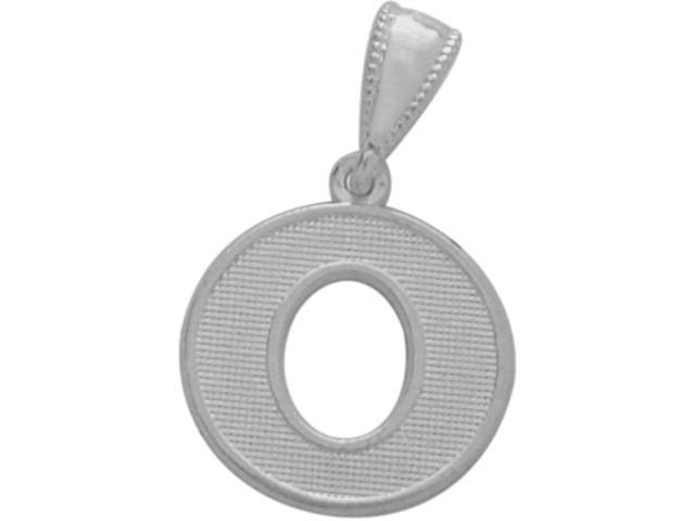 10 Karat White Gold Block Initial O Pendant with Chain