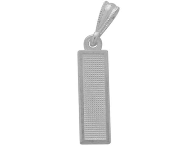 10 Karat White Gold Block Initial I Pendant with Chain
