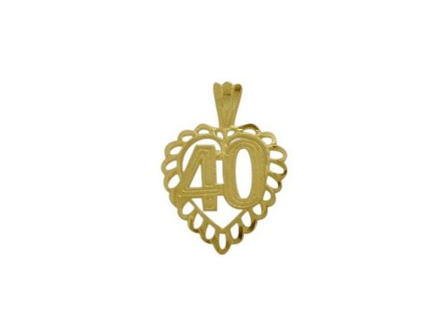 10K Yellow Gold Fancy #40 Heart Age Pendant with Chain