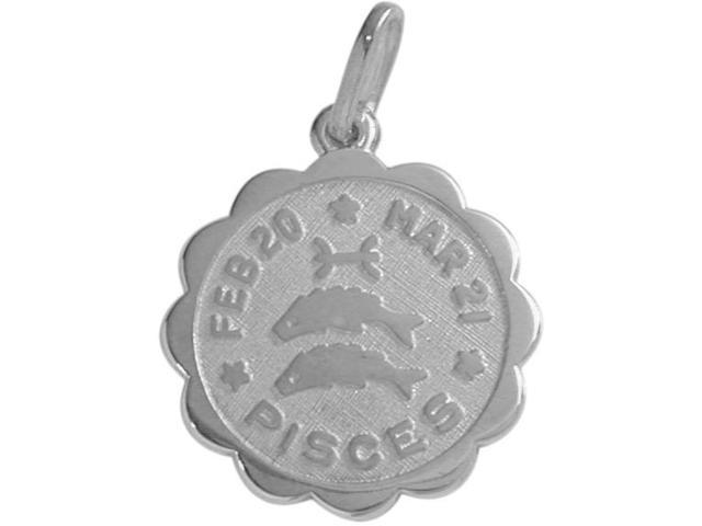 Round Sterling Silver Pisces Zodiac Pendant with Chain