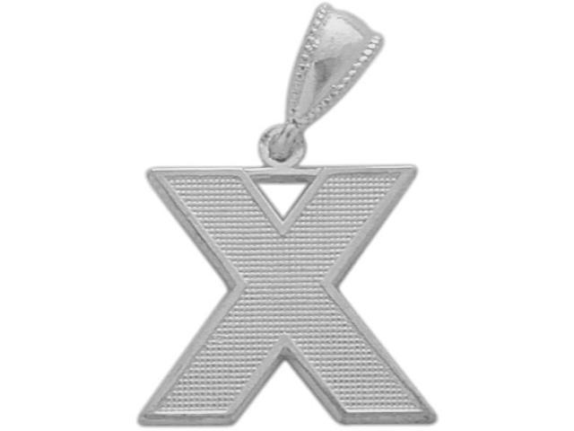 10 Karat White Gold Block Initial X Pendant with Chain