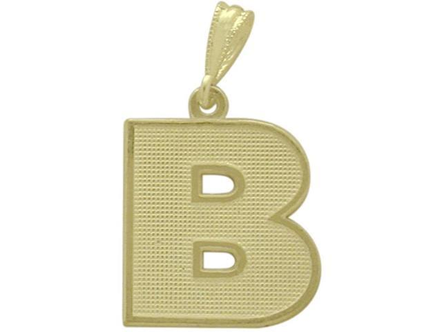 10 Karat Yellow Gold Block Initial B Pendant with Chain