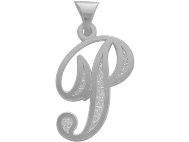10 Karat White Gold Fancy Initial P Pendant with Chain