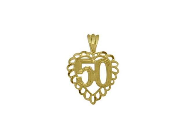 10K Yellow Gold Fancy #50 Heart Age Pendant with Chain