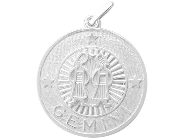 Sterling Silver Gemini Zodiac Pendant with Chain, 1 Inch