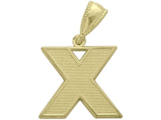 10 Karat Yellow Gold Block Initial X Pendant with Chain