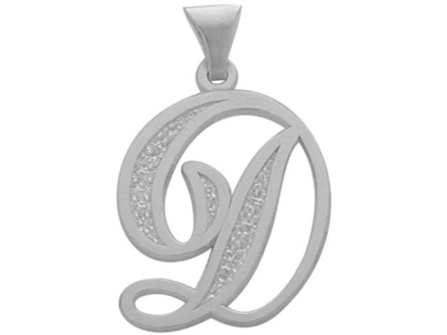 10 Karat White Gold Fancy Initial D Pendant with Chain